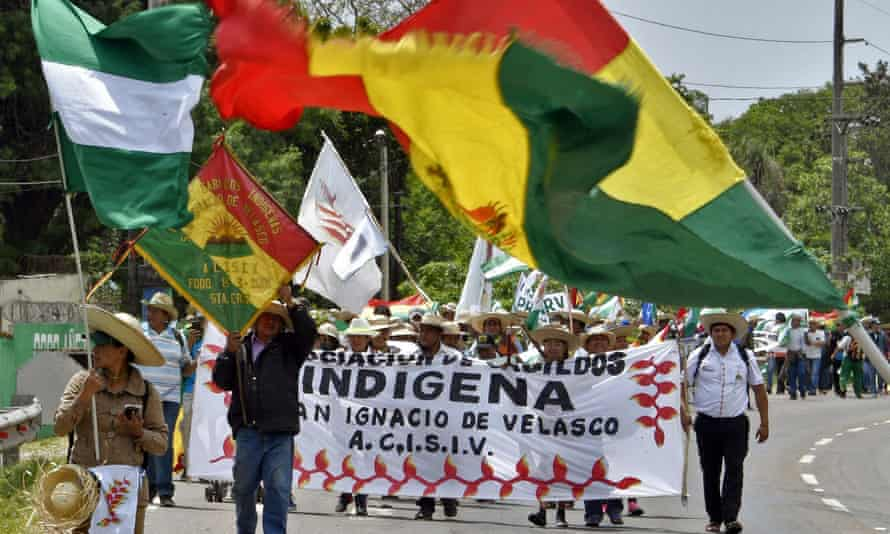 Indigenous people arrive in Santa Cruz on Wednesay as they march demanding Morales declare the Chiquitania region a disaster zone due to forest fires.