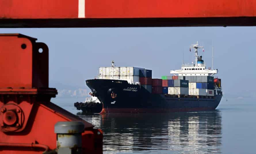 A cargo ship at a port in Weihai, in eastern China's Shandong province