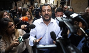 Matteo Salvini, the leader of the League party, speaks to the press in Rome