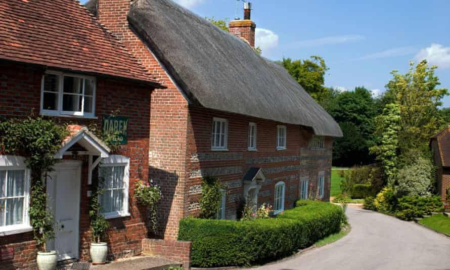 Tiled and thatched cottages in Hampshire, UK