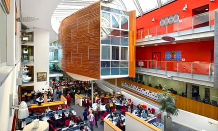 The atrium within the academic building at Queen Margaret.