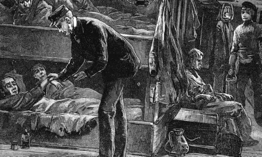 Taking the pulse of a sick Irish emigrant on board ship. A million people died during the potato famine of the 1840s and a million more emigrated. Wood engraving c1890