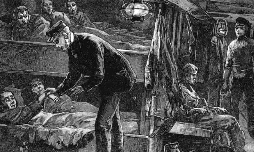 Wood engraving of Irish emigrants bound for North America during the potato famine