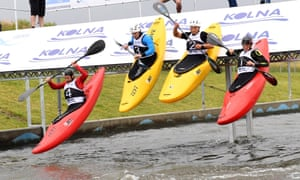 Krakow, PolandCompetitors negotiate the course in the extreme K-1 category during the World Cup Wildwater Canoeing,