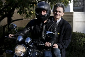 File photo of Varoufakis and Tsakalotos leaving the Maximos Mansion after a meeting with PM Tsipras in Athens<br>Greek Finance Minister Yanis Varoufakis (front) and deputy minister for international economic relations Euclid Tsakalotos leave the Maximos Mansion after a meeting with Prime Minister Alexis Tsipras (not pictured) in Athens in this April 3, 2015 file photo. Tsakalotos will be sworn in as finance minister on July 6, 2015 after the resignation of Varoufakis, a Greek presidency source said. REUTERS/Alkis Konstantinidis/Files