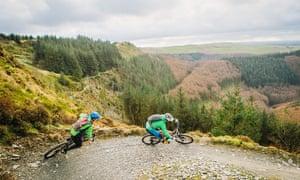 Mountain biking at Bwlch Nant yr Arian.