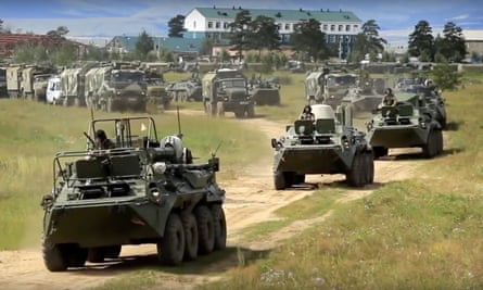Russian defence ministry image shows armoured personnel carriers in eastern Siberia.