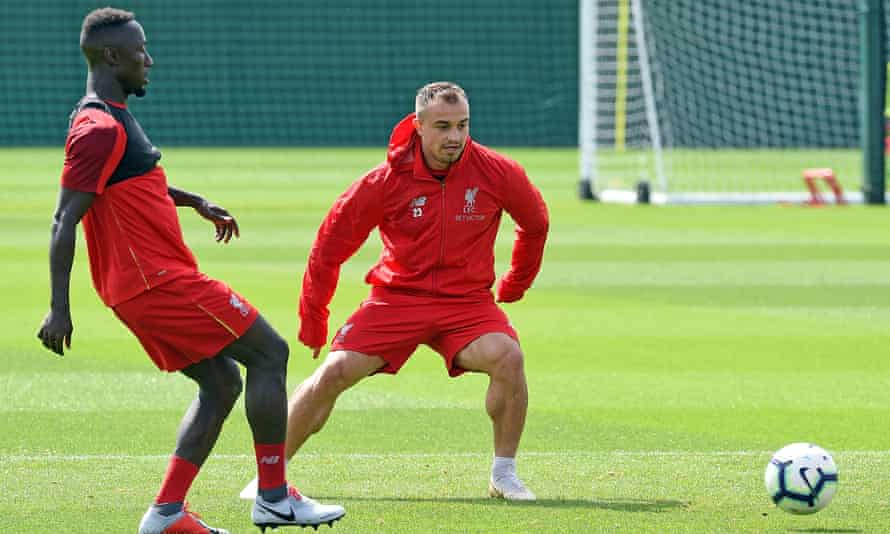 New Liverpool signings Naby Keita and Xherdan Shaqiri train at Melwood.