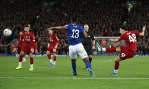 Liverpool's Curtis Jones scores.