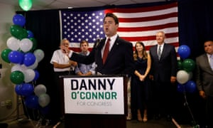 Democratic candidate Danny O'Connor addresses supporters at his election night party for a special election in Ohio's 12th congressional district in Westerville, Ohio.