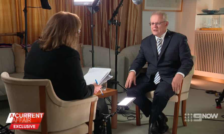 Australian prime minister Scott Morrison is interviewed on A Current Affair by Tracy Grimshaw