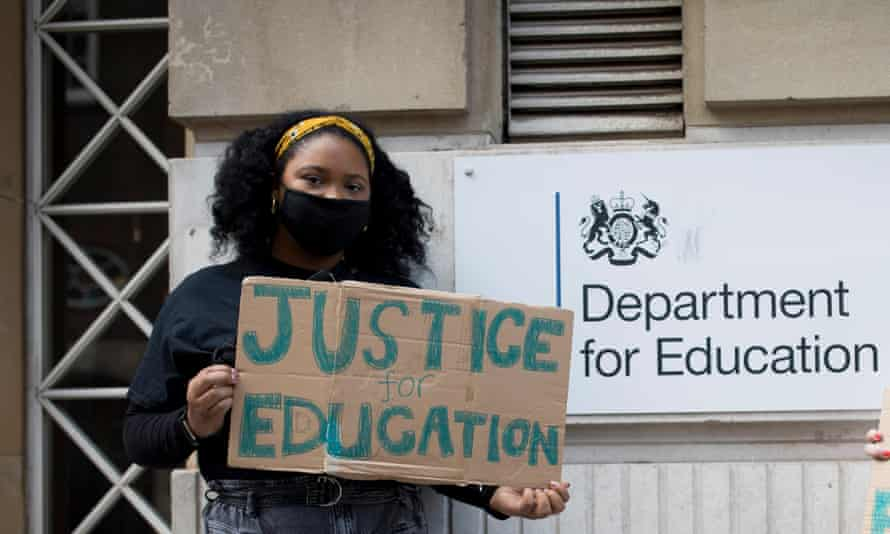 Larissa Kennedy at a socially-distanced protest outside the Department for Education building in central London on 20th August.