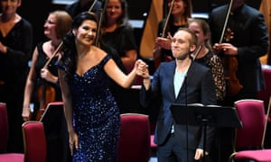 Striking debut … Adela Zaharia and composer Iain Bell take the applause after the premiere of his Aurora.