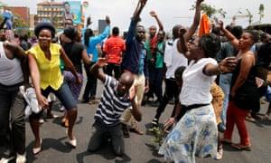 Odinga's supporters celebrate in Kibera.