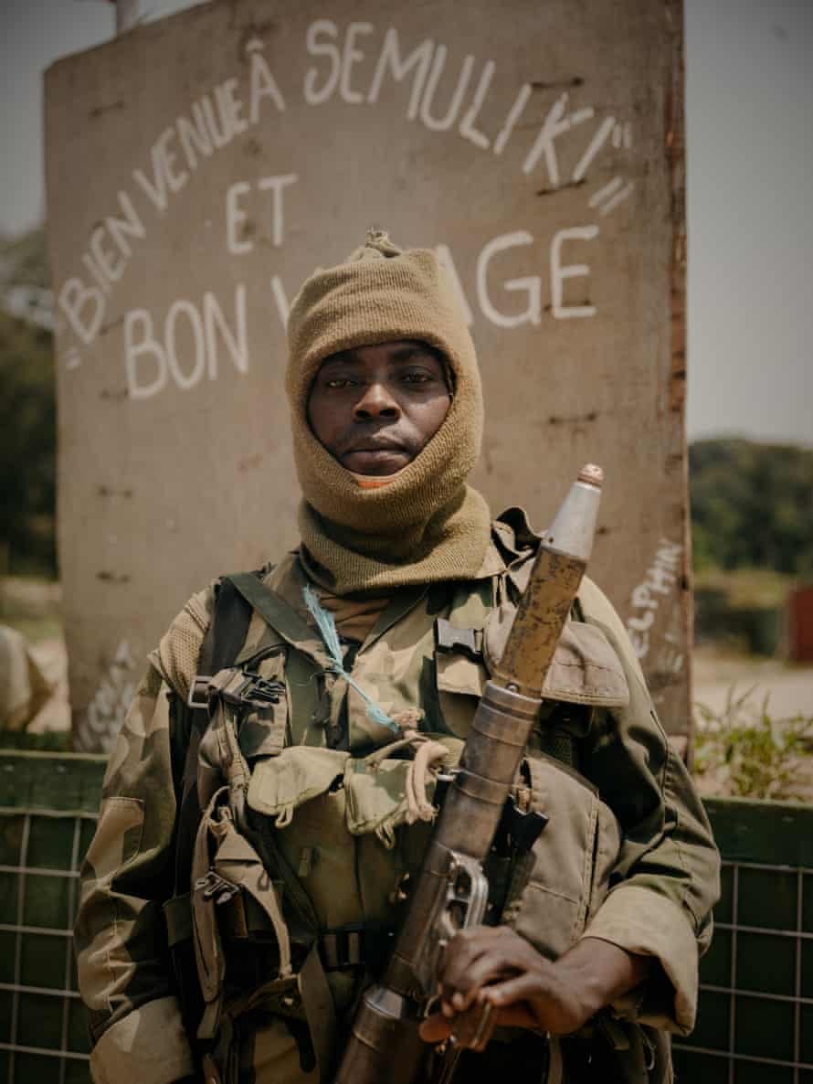 A FARDC soldier at a former UN base on the Mbau-Kamango road