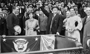 Franklin D Roosevelt prepares to open the baseball season on 14 April 1936.