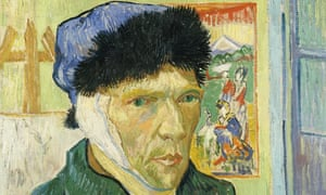 a detail of Vincent van Gogh's Self-Portrait with Bandaged Ear, 1889