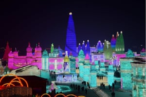 Ice and Snow World, Harbin, China. Tourists enjoy spectacular ice and snow sculptures at the Harbin Ice and Snow World Park Ice and Snow World, Harbin, China - 02 Jan 2018