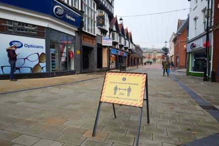 Wrexham, north Wales, during the 17-day coronavirus firebreak lockdown, which ends on Monday 9 November.