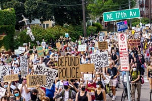 Demonstrators march against racism and police brutality in Minneapolis.