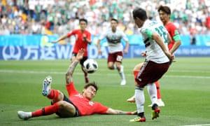 Hyunsoo Jang of Korea Republic gives away the penalty