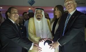 Egyptian President Abdel Fattah el-Sisi, Saudi Arabia's King Salman bin Abdulaziz al-Saud and US president Donald Trump in Riyadh.