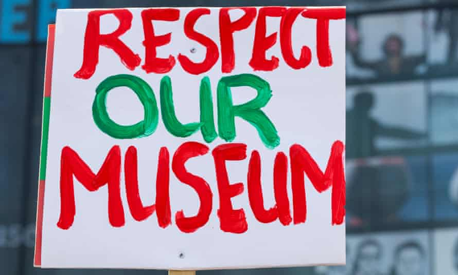 A banner from a protest outside the National Media Museum in Bradford