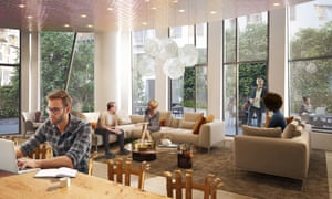 An artist's impression of the Gehry designed residents' lounge.