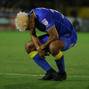 Despair for AFC's Lyle Taylor after he missed the penalty in the 2nd half