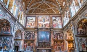 The heavily frescoed interior of church San Maurizio al Monastero Maggiore
