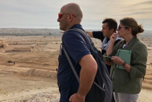 Halo project manager Ronen Shimoni, left, Rachel Cooke and visiting Halo colleague Tim Porter survey the Qasr al-Yahud site from the dunes