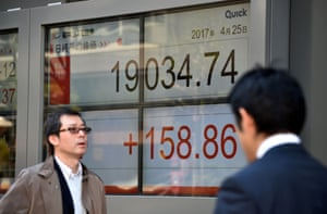 A display showing how Japan's Nikkei rose today.