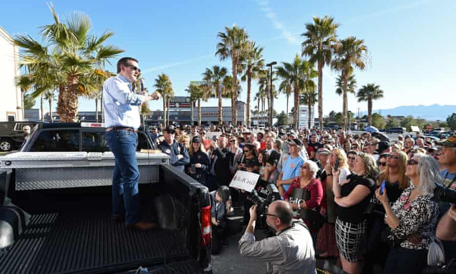 Senator Ted Cruz speaks from the back of a pickup truck at a rally on Sunday in Pahrump, Nevada. Cruz is campaigning in Nevada for the Republican presidential nomination ahead of the state's caucus on Tuesday.