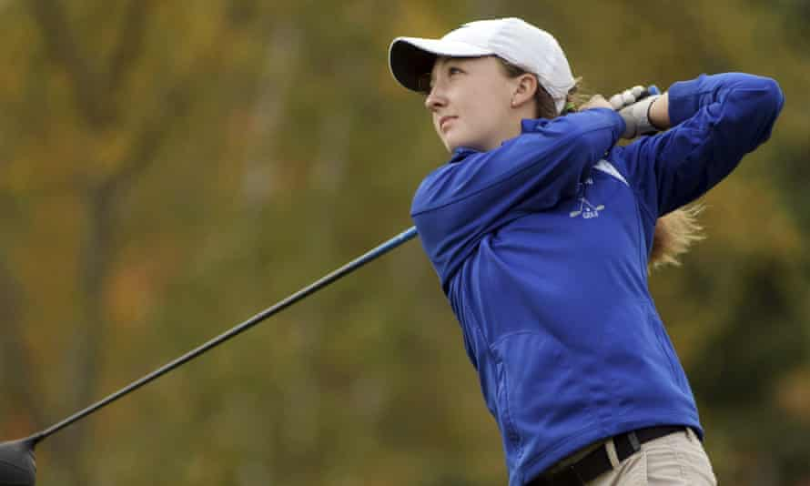 Emily Nash tees off during the Central Massachusetts Division 3 boys' golf tournament.