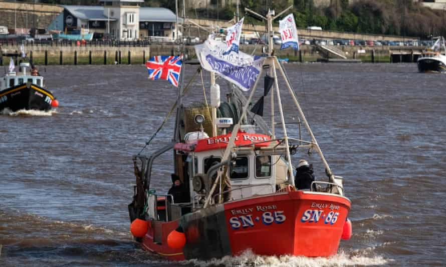 A pro-Brexit boat on the Tyne in Newcastle