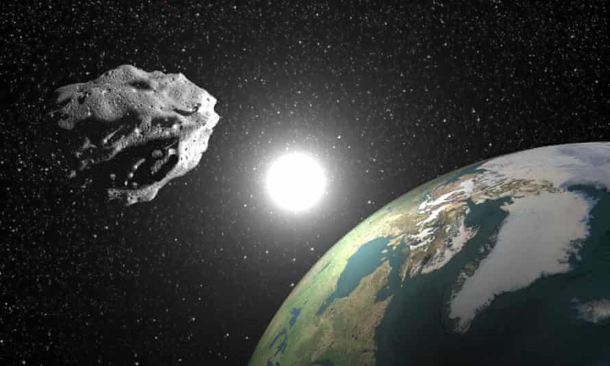 Artist's impression of an asteroid near Earth.