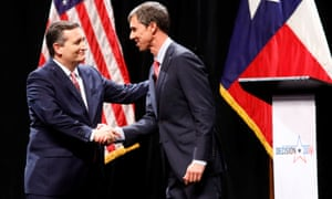 The two men shake hands after the debate.