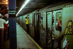 Dangerous ride Franklin Street Station IRT Broadway Line New York Subway, NY, 1978