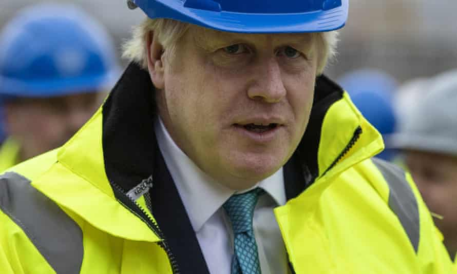 Boris Johnson campaigning at an housing development in Bedford