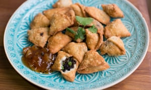 Black pudding and pea samosas.