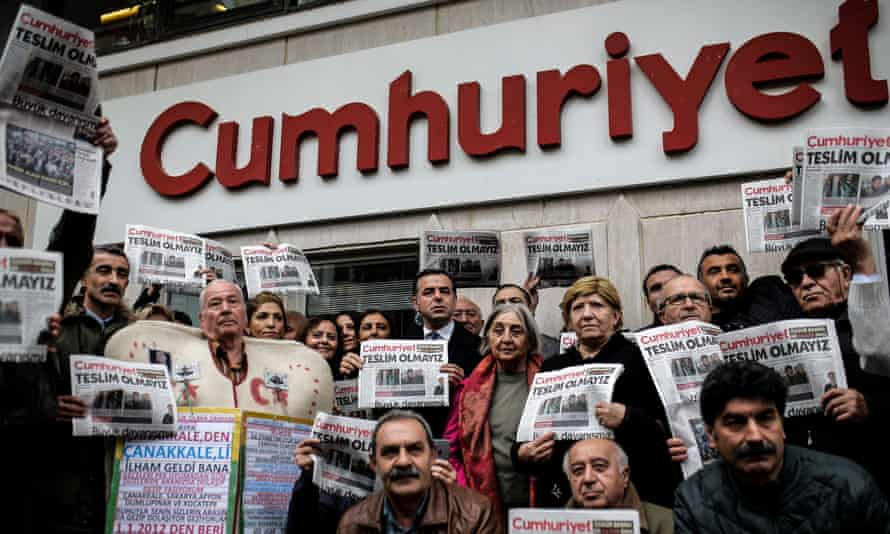 A protest in support of the Cumhuriyet newspaper