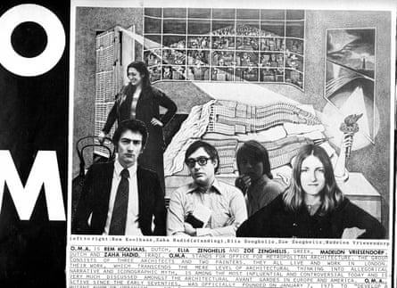 Zaha Hadid (standing) with Rem Koolhaas, Elia and Zoe Zenghelis, and Madelon Vriesendorp in the 1978 inaugural edition of the art magazine Viz.