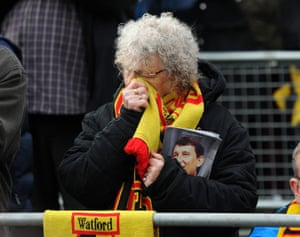 Watford, England A football fan mourns