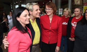 The deputy leader of the opposition, Tanya Plibersek, and members-elect Emma Husar (left) and Susan Templeman (right) in Penrith on Monday..