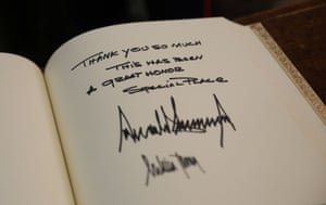 A message from President Trump and First Lady Melania Trump in the guest book at Westminster Abbey