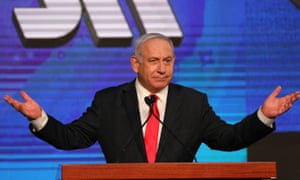 Benjamin Netanyahu, greets supporters at the Likud party final election event after early exit polls.