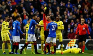 Rangers' Daniel Candeias is shown his second yellow card in the first half against Villareal.