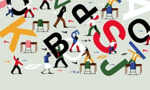 Illustration of cartoon people juggling giant letters