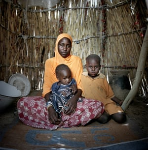 Tchelou Bossomi and her daughter, Khalfoumi, and son, Abba, in an unnamed IDP camp on the outskirts of Mémé.