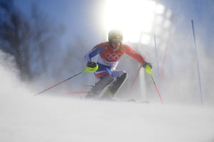 France's Victor Muffat-Jeandet competes in the men's alpine combined slalom at the Jeongseon Alpine Center.